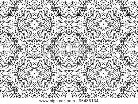 Seamless Contour Floral Pattern.