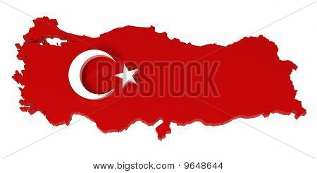 Turkey, Map with Flag, Clipping Path Included