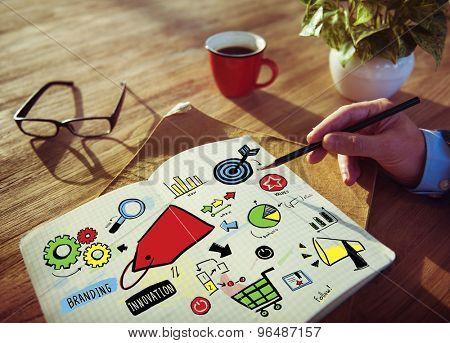 Businessman Branding Marketing Strategy Writing Concept