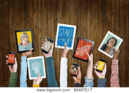 Digital Devices Business Growth Success Startup Concept
