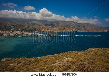 Scenic View To Andros City, Greece