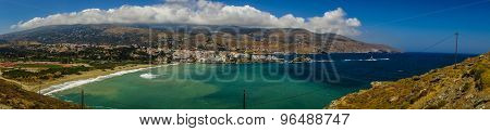 Panoramic View Of The City Of Andros, Andros, Greece