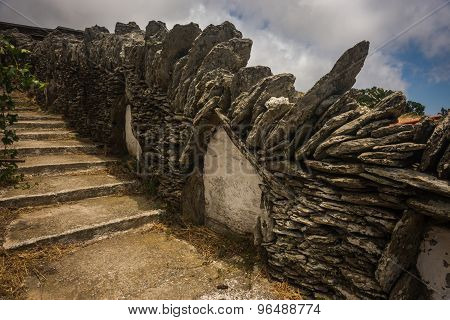 Fence Made Of Masonry And A Staircase On The Island Of Andros, Greece