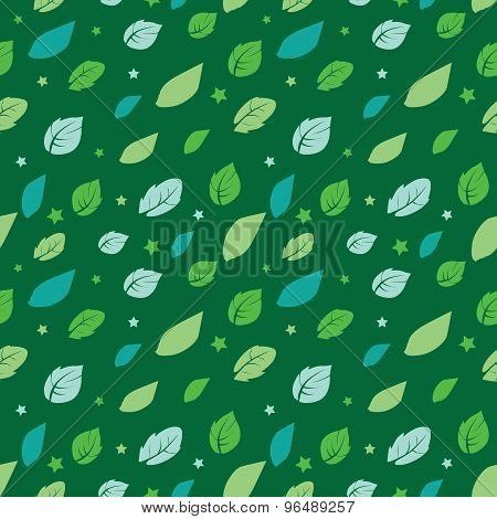 Vector Green Painted Leaves Stars Diagonal Seamless Pattern