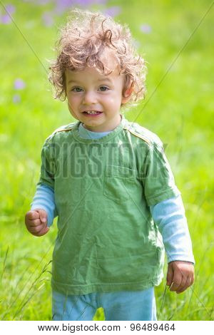 Portrait Of Toddler Boy Outdoor