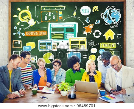 Diversity Casual People Responsive Design Teamwork Brainstorming Concept