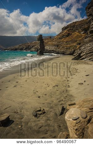 Unique Rock Formations On The Beach Grias Pidima, Andros, Greece