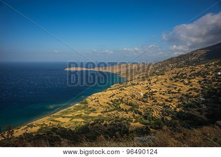 Picturesque Fields Separated By Stone Fences, Andros, Greece
