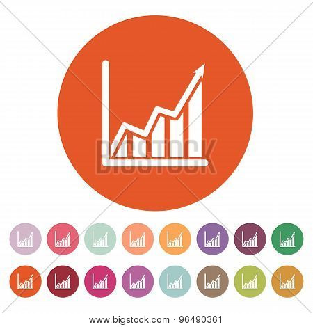 The growing graph icon. Growth and up symbol. Flat