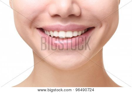 Dental health. Part of face,young woman close up smile.