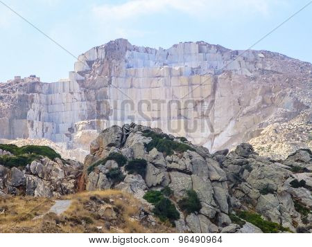 Large Marble Quarry Uncovered In The Blue Sky Of The Island Of Naxos