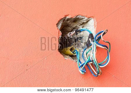 Crack Hole Wall With Electric Colored Wires, Copyspace On The Left.