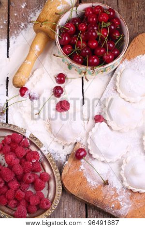 Flour, Fresh Cherry, Raspberry, Rolling-pin - Preparation Vareniki With A Fresh Berry