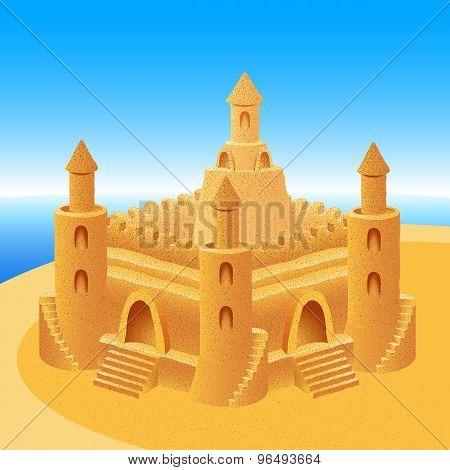 Sand Castle Building Sea Horizon Summer Beach Background