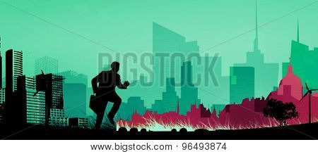 Businessman with briefcase against cityscape stencil design