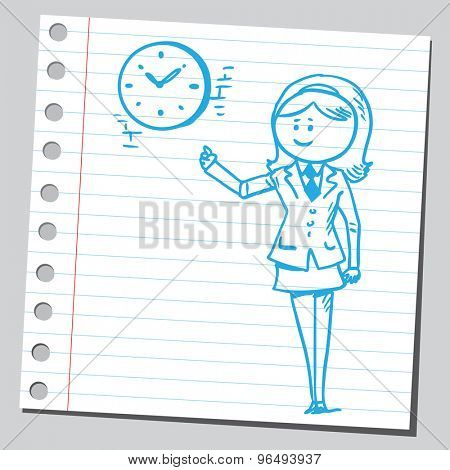 Businesswoman pointing on clock