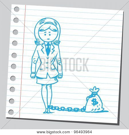 Businesswoman chained with money bag