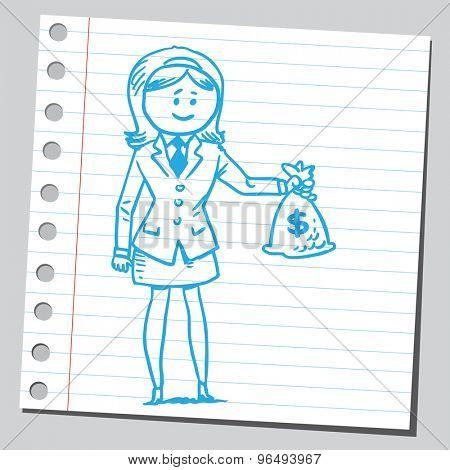 Businesswoman holding money bag