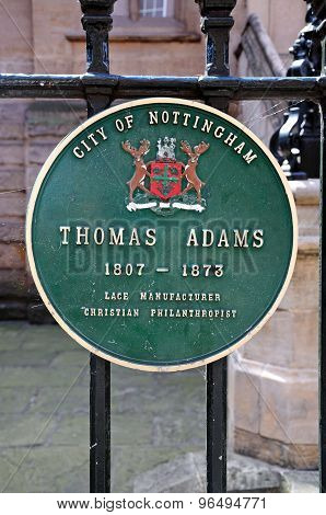 Thomas Adams Plaque, Nottingham.