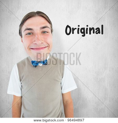 Nerd smiling against white background