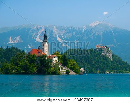 Bled lake with island church and castle