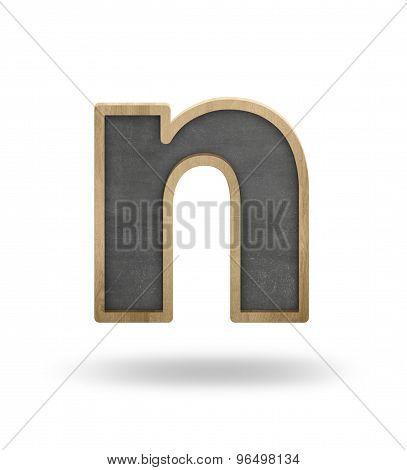 Black blank letter n shape blackboard