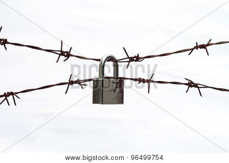 Barbed Wire With Padlock