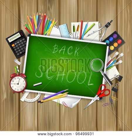 Back To School Background With Supplies Tools And Chalkboa