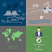 image of polluted  - Ecology and the city air pollution smoke factories pollution of the world vector icons - JPG