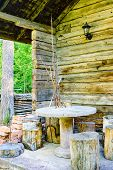 pic of timber  - Outdoor furniture made of cut timber concrete and other materials - JPG
