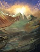 stock photo of fantastic  - This fantastic mountain illustration is one of my personal artwork - JPG