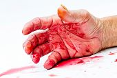 stock photo of horror  - bloody hand on the table. a violence or fear horror concept.