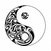 stock photo of ying yang  - Ying yang symbol with decorative ornament isolated on white - JPG