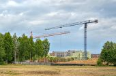 picture of construction crane  - Construction site with cranes - JPG