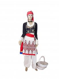 stock photo of national costume  - Greek cretan national woman clothes costume on mannequin isolated over white background - JPG