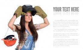 pic of welding  - Young sexy female dressed in jeans and weld helmet - JPG