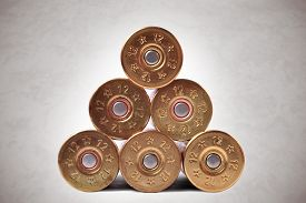 stock photo of shotgun  - 12 gauge shotgun shells used for hunting - JPG