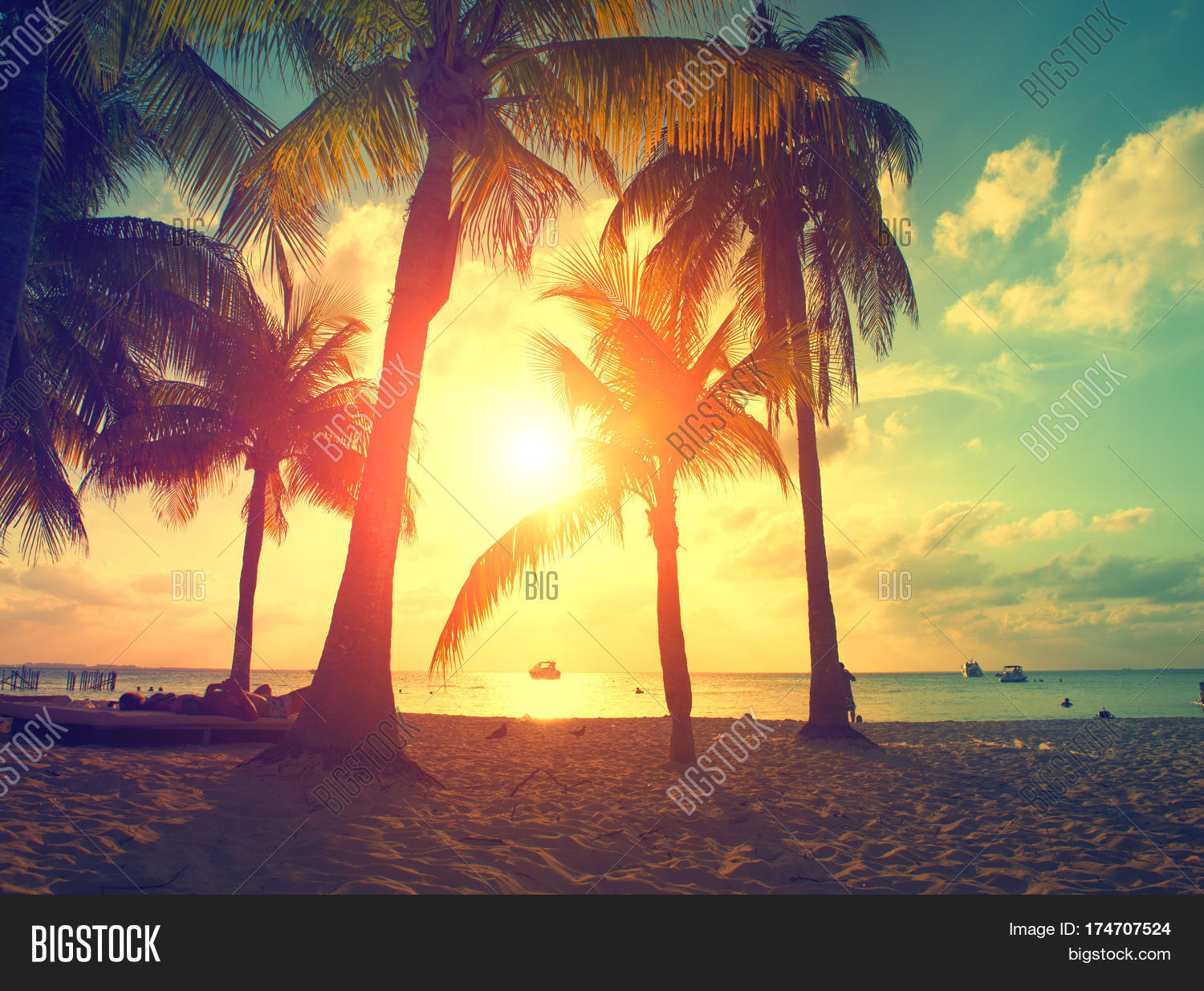 Sunset Beach With Palm Trees And Beautiful Sky Tourism Travel Vacation Concept Background