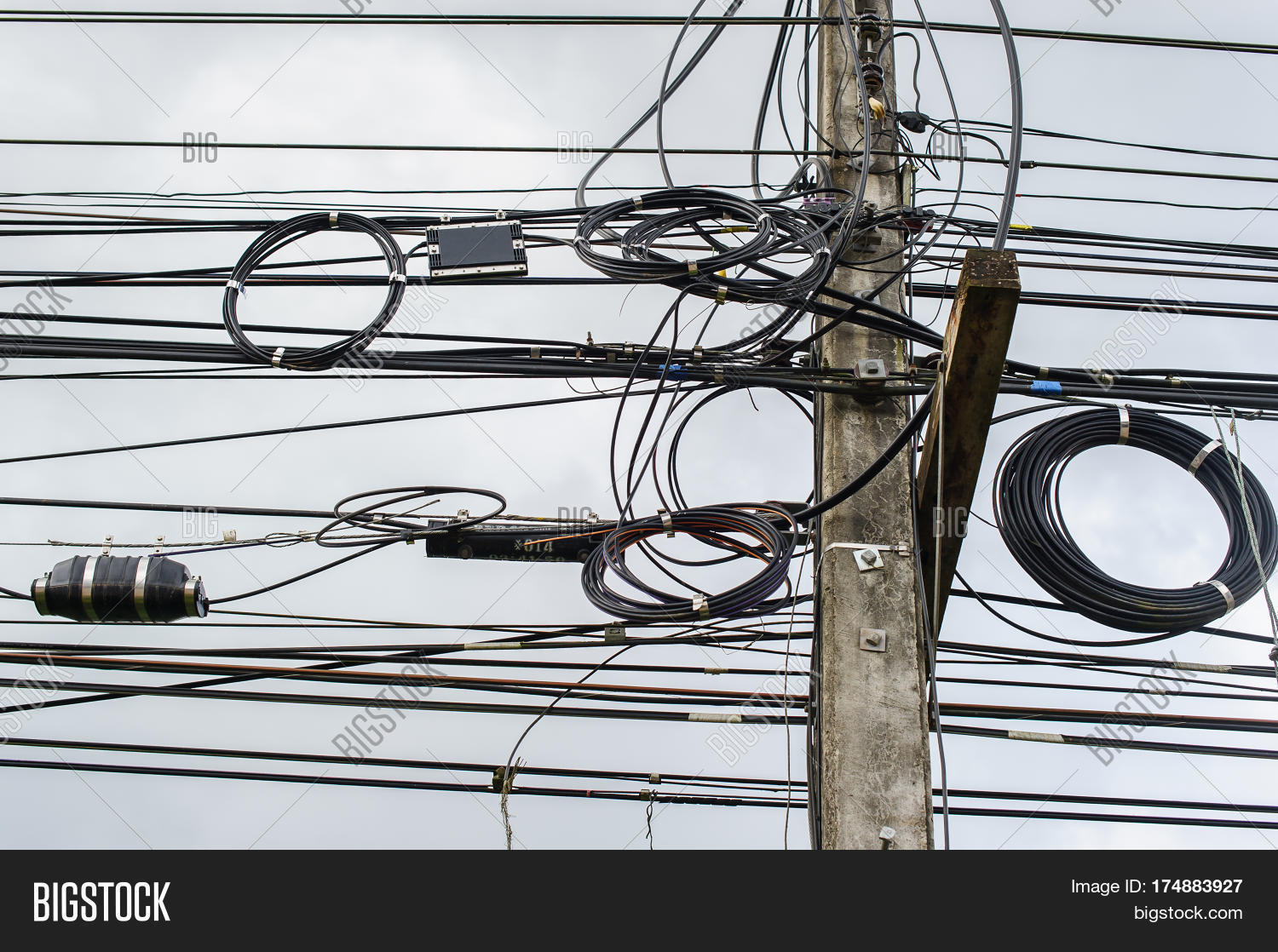 high voltage power pole with wires tangled wire and cable clutter