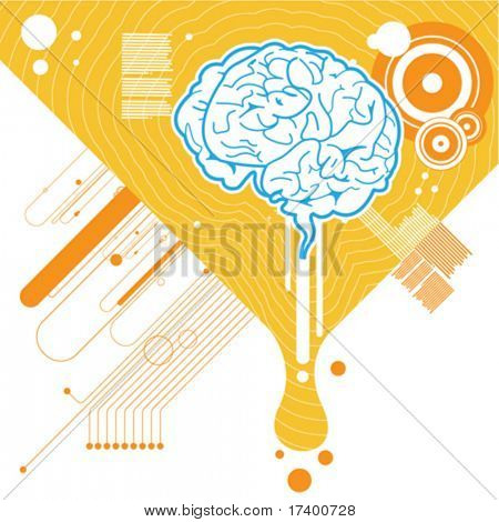abstract brain illustration background vector