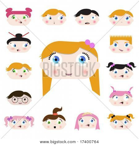 set of cartoon child faces design vector