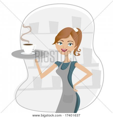 girl serving coffee