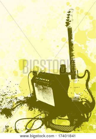 grunge style guitar and amphi vector