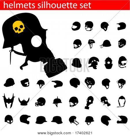 vector helmet silhouette set