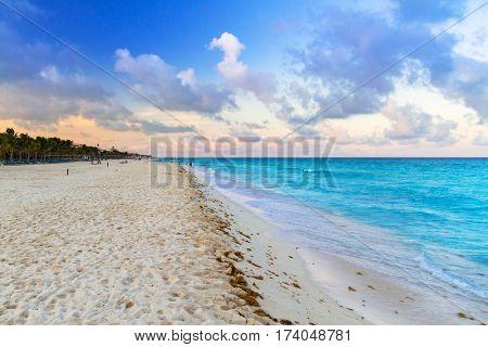 Sunrise on the beach of Playa del Carmen at caribbean sea, Mexico