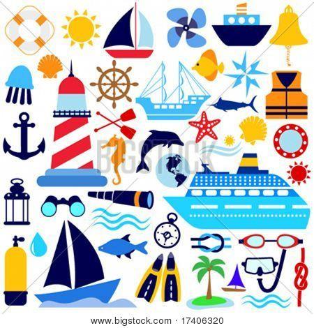 conjunto de iconos náutica