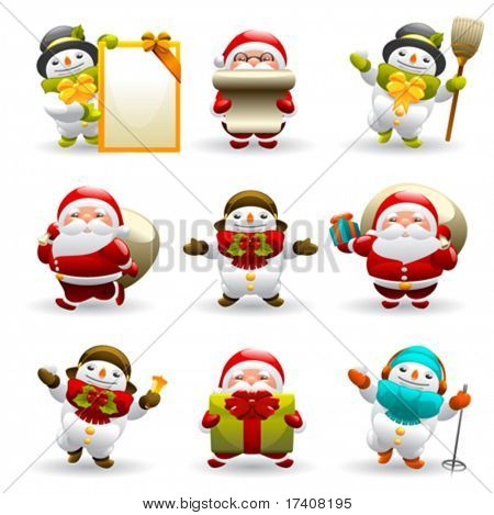 santa claus and snowman set