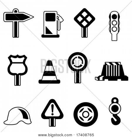 traffic icon set vector (black version)