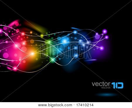 Abstract Space Scenery of light with Rainbow Colours Background