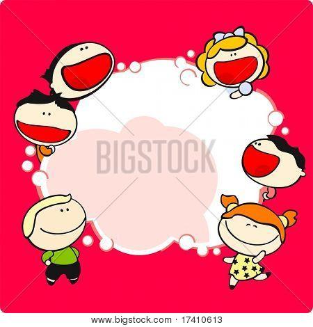 Cute cartoon kids and thinking bubble